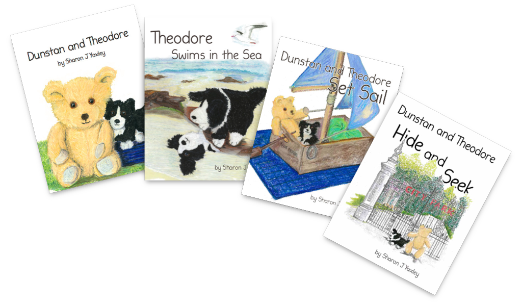 Covers of books the books 'Dunstan and Theodore', 'Theodore Swims in the Sea' and 'Dunstan and Theodore Set Sail'.